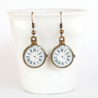 Vintage Clock Earrings covered with Clear by MagicJewelryStore