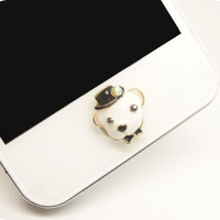 1PC Bling Crystal Cute Animal Dog Boy or Girl Alloy iPhone Home Button Sticker for iPhone 4,4s,4g, 5, iPad, Cell Phone Charm Lover Gift