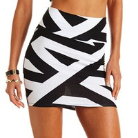 Asymmetrical Stripe Mini Skirt: Charlotte Russe