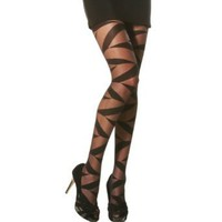 Angelina ZigZag Patterned Support Pantyhose, #9401