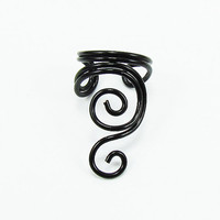 Ear Cuff Black Swirly Cuff by ShutUpAndCuffMe on Etsy