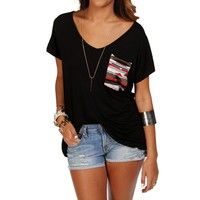 Pre-Order Black Short Sleeve Tribal Top