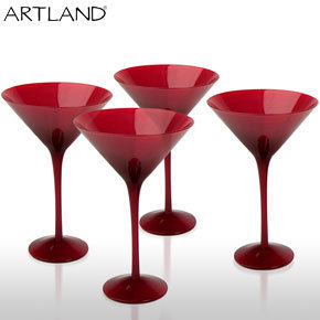 Artland Midnight Cocktail Glasses ? modern martini glass set ? red candy