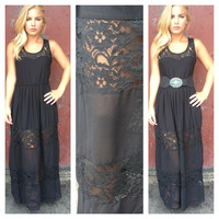 Black Lace Megan Maxi Dress