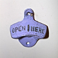 "Purple 'OPEN HERE"" Cast Iron Bottle Opener by AquaXpressions"