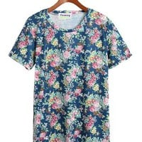 Retro Floral Short Sleeve T Shirt Blue