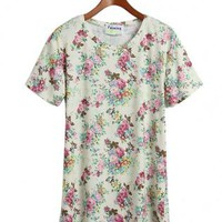 Retro Floral Short Sleeve T Shirt Apricot