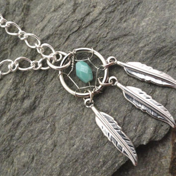 Turquoise Dream Catcher Necklace Silver Feathers by MidnightsMojo