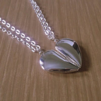 Best Friend Necklaces, Silver Half Heart Pendants
