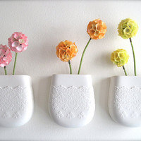 Porcelain Flower Lace Wall Pocket by Hideminy on Etsy