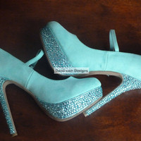 Custom Aqua Blue Mary Jane Bling Pumps by DaedreamDesigns on Etsy