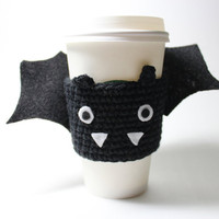 Halloween Bat Cup Sleeve / Bat Coffee Cozy / Halloween Crochet coffee sleeve