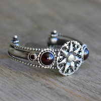 Garnet and Sterling Cuff Bracelet Multi Cuff by onegarnetgirl