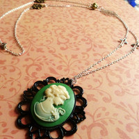 Long cameo cross leaf necklace  silver plated by BowsJewellery