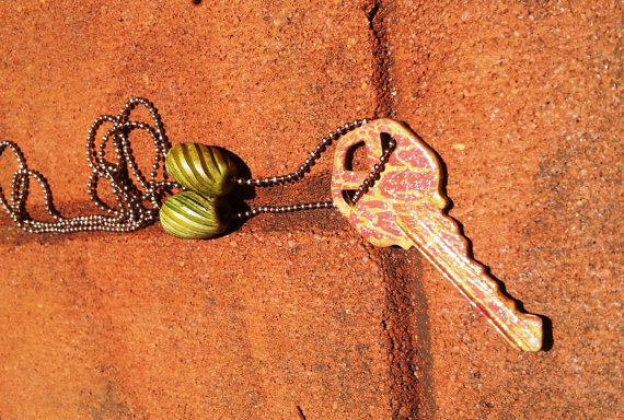 Upcycled Key Necklace  jewelry with a key charm by UpcycleFever