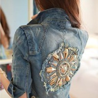 Punk Metal Rivets Distressed Denim Jacket
