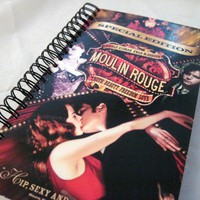 Moulin Rouge Recycled Notebook | CultureRevolution - Paper/Books on ArtFire