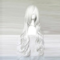 Cosplay_Angel Sanctuary_Rosiel&Jinbei_curly_80cm_silver white_Japanese kanekalon wigs