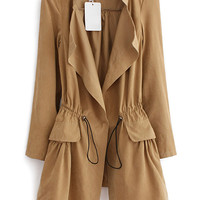 Khaki Long Sleeve Epaulet Drawstring Trench Coat - Sheinside.com