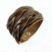 Real Soft Brown Leather Bracelet,women cuff bangle jewelry men leather bracelet fashion bracelet  S023-BR
