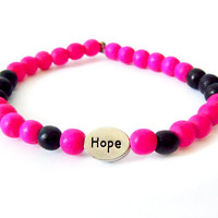 Wood Beaded Hope Bracelet (Bright Pink and Black)