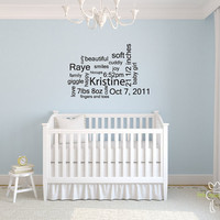 Baby Subway Art Wall Decal Custom Nursery by LittleMooseDecals