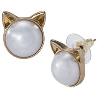 Cat Post Earrings - Pearl