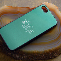 Engraved Silver Metallic iPhone Case with Interlocking Monogram - Color like Tiffany Blue