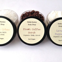 Custom Body Scrub & Bath Soak Gift Set, Fair Trade Coffee Scrub, Sugar Scrub, Sea Salt Bath Soak