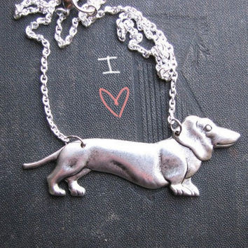 dachshund necklace in silver by friendlygesture on Etsy