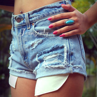 Destroyed denim shorts high waist distressed shorts ripped jean shorts by Jeansonly