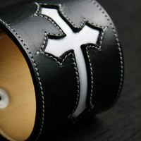 Black Leather Cuff with a Cross Leather Bracelet CROSSPOINT CUFF | EthosCustomBrands - Accessories on ArtFire