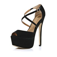 Black cross over strap peep toe platforms - heels - shoes / boots - women