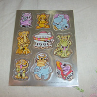 vintage stickers FOILED ALIENS SHEET hallmark cute  1   nice unused
