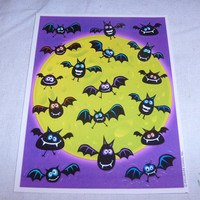 vintage stickers BATS MOON SCENE sheet hallmark  1   nice unused