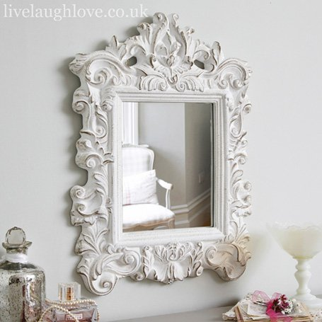 French style mirror shabby chic mirror from live laugh love for Vintage style mirrors