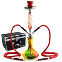 "NeverXhale Deluxe Series: 22"" 2 Hose Hookah Complete Set with Optional Carrying Case - Swirl Art Glass Vase - Pick Your Color (Rasta Red w/ Case)"