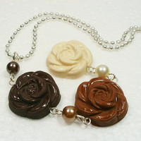 Chocolate Rose Pendant. Polymer Clay.