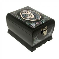 Mother of Pearl Asian Lacquer Wooden Black Bird Music Jewelry Case Trinket Keepsake Treasure Gift Box Organizer with Crane Design:Amazon:Home & Kitchen