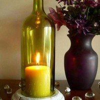 GOLD Wine Bottle Candle Holder Hurricane Lamp Centerpiece | BoMoLuTra - Candles on ArtFire