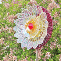 Red Garden Art Yard Suncatcher UpCycled RePurposed by jarmfarm