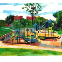 "Reserved for Sarah. Loose Park playground, Kansas City, Missouri. Watercolor. 11"" x 15"" landscape painting plein air"