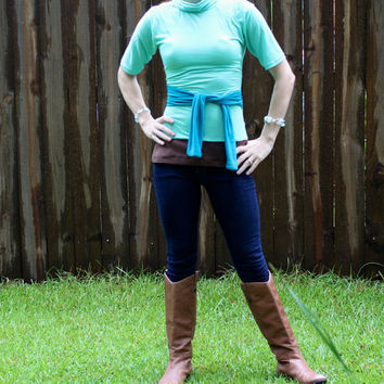 Women's Casual Turtleneck, Sea Foam Green and Teal Wrap Top XS S M L XL