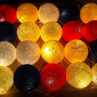 20 Mediterranean breeze color blue yellow white cotton ball string light handmade lantern party garland light