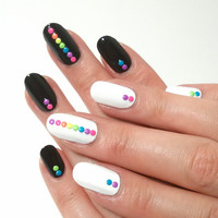 120 Neon Rainbow Nail Art 2mm Round Studs - 6 Colors