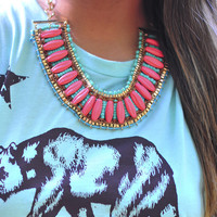 Roped In Envy Necklace: Coral/Mint | Hope's