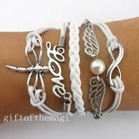 love,infinity karma,wings and pearl, & dragonfly Charm Bracelet Antique silver-- wax cords braid Leather bracelet--fashion gift 668