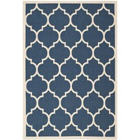 Safavieh Indoor/ Outdoor Courtyard Navy/ Beige Rug (4' x 5'7) | Overstock.com