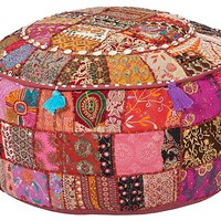 One Kings Lane - Affordable Finds - Gloria Pouf, Maroon/Multi