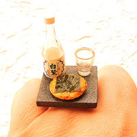 Japanese Food Ring Miniature Food Jewelry Sake And Senbei Crackers